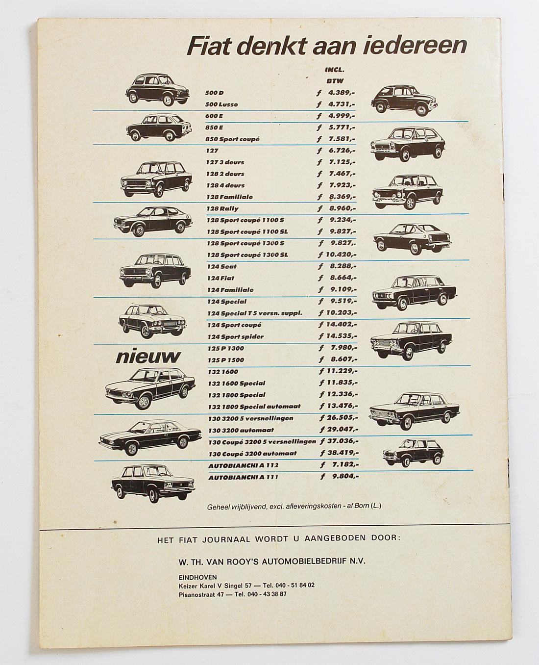 Fiat prijslijst