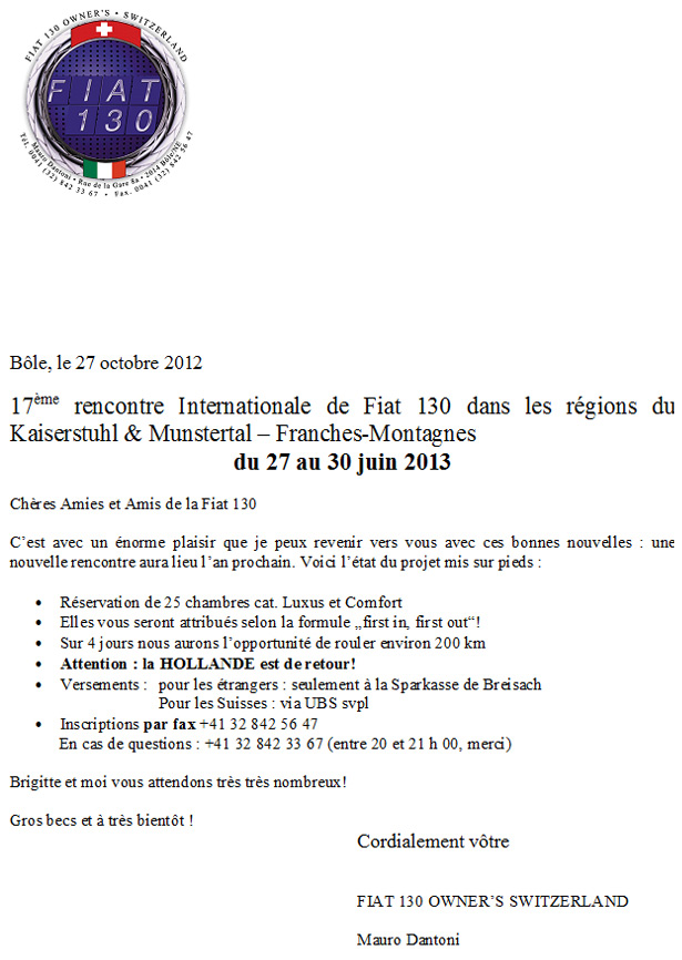 Fiat 130 Meeting-aankondiging