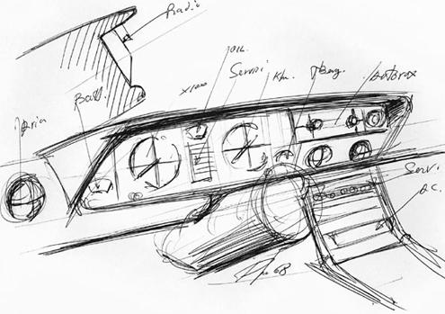 Fiat 130 interieur schets