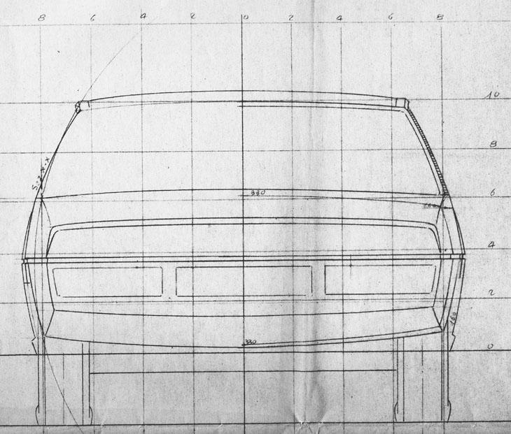 Fiat 130 coupe tekening