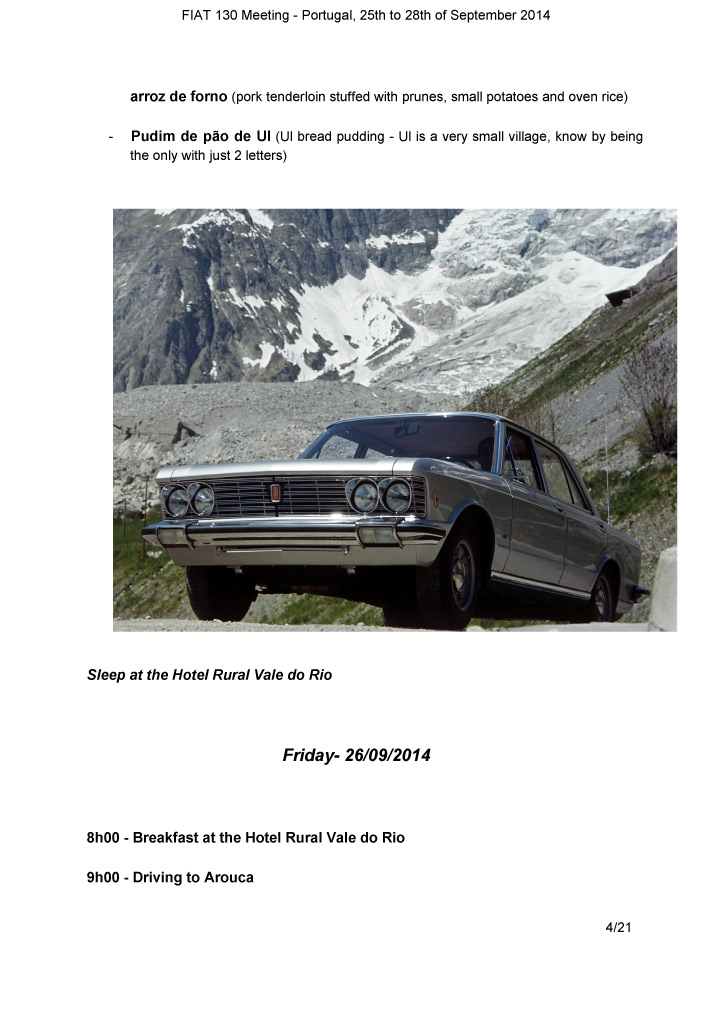 Tourbook Fiat 130 meeting 2014
