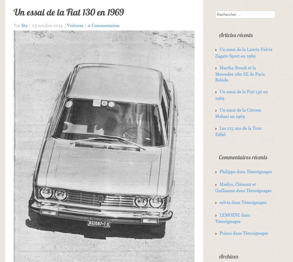 Un essai de la Fiat 130 en 1969