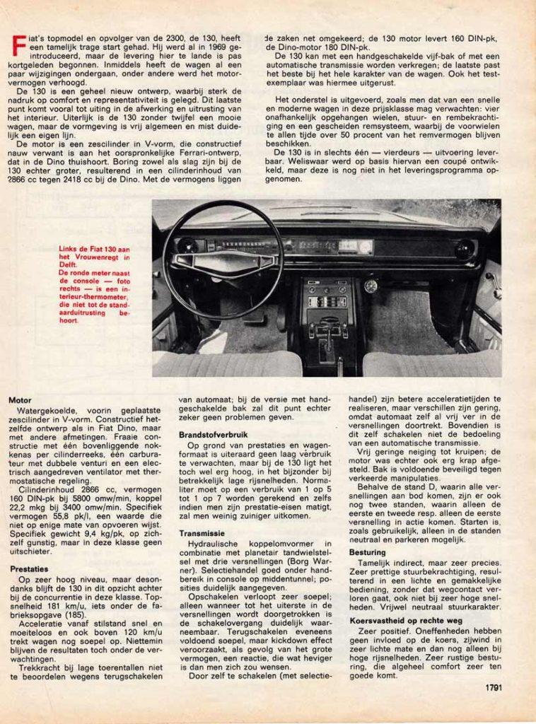 Rijervaringen met de FIAT 130