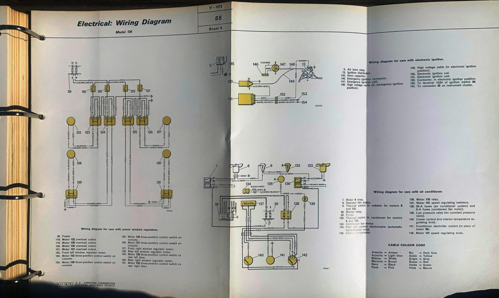 wiring diagram FIAT 130