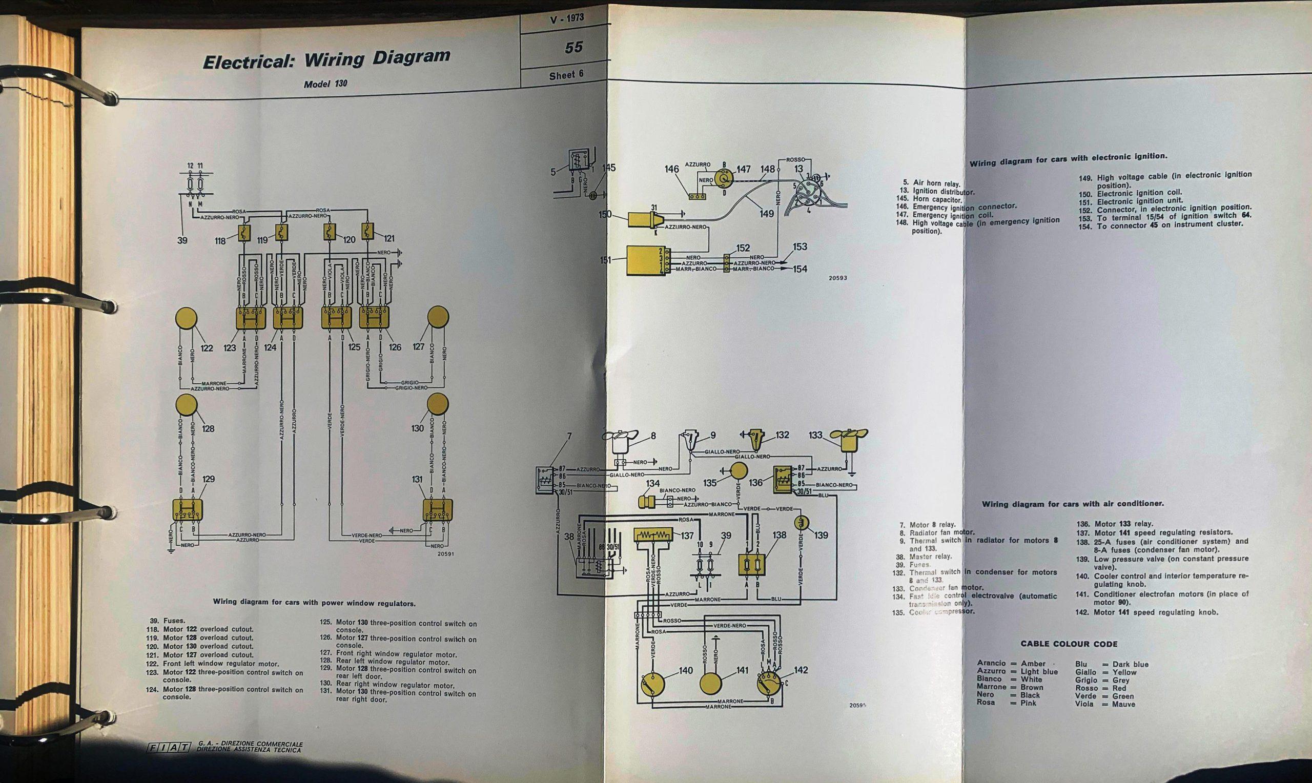 wiring diagram FIAT 130