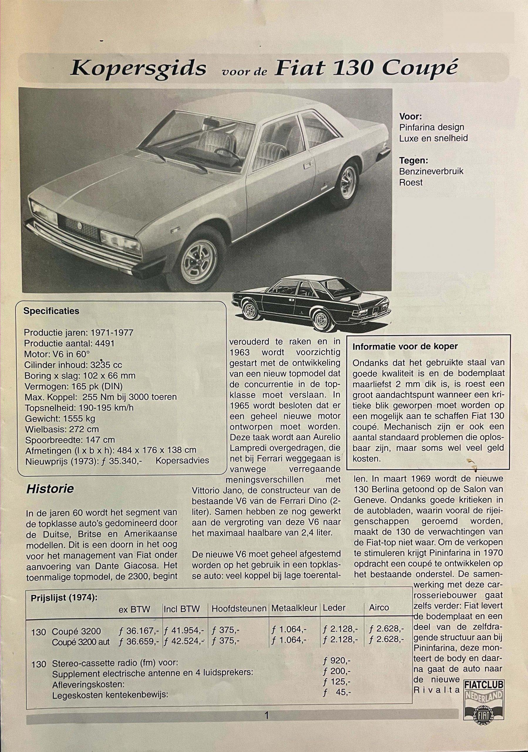 aankoop informatie Fiat 130 coupe