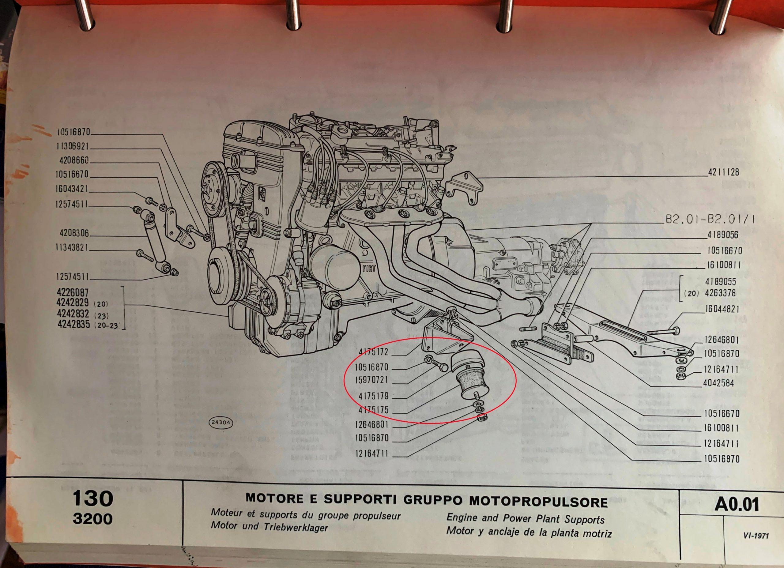 motorsteun Fiat 130